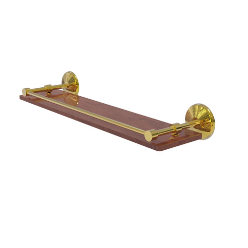Monte Carlo Polished Brass 22-Inch Solid IPE Ironwood Shelf with Gallery Rail