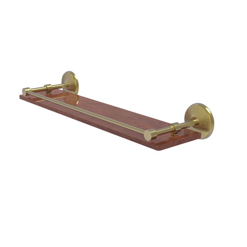 Monte Carlo Satin Brass 22-Inch Solid IPE Ironwood Shelf with Gallery Rail