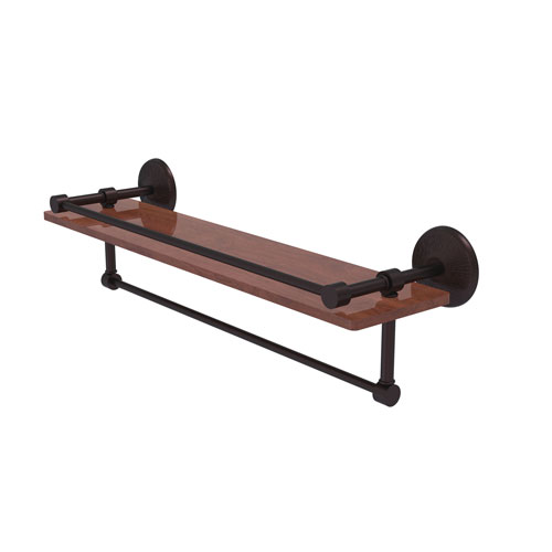 Monte Carlo Antique Bronze 22-Inch IPE Ironwood Shelf with Gallery Rail and Towel Bar