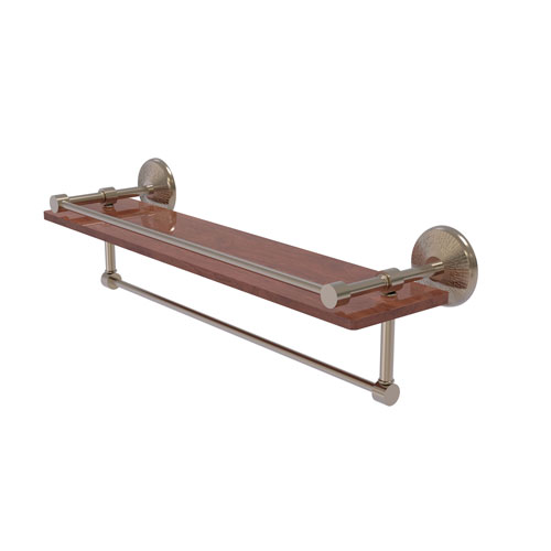 Monte Carlo Antique Pewter 22-Inch IPE Ironwood Shelf with Gallery Rail and Towel Bar