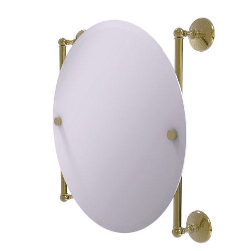 Monte Carlo Unlacquered Brass 22-Inch Round Frameless Rail Mounted Mirror