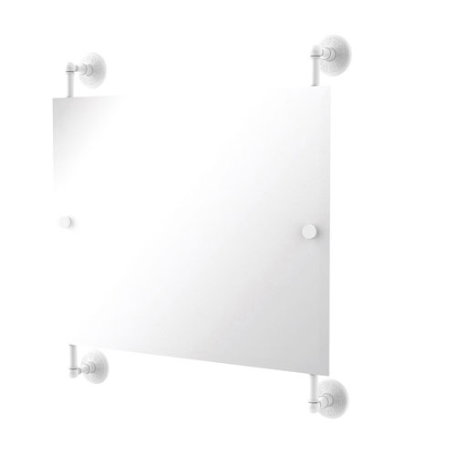 Monte Carlo Matte White 26-Inch Landscape Rectangular Frameless Rail Mounted Mirror