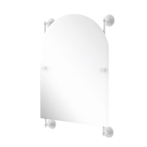 Monte Carlo Matte White 21-Inch Arched Top Frameless Rail Mounted Mirror