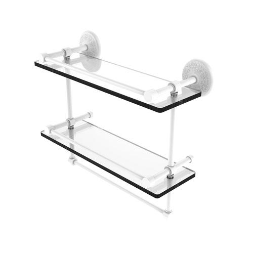 Monte Carlo Matte White 16-Inch Double Glass Shelf with Towel Bar