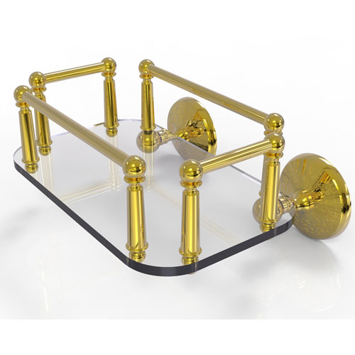 Monte Carlo Polished Brass Eight-Inch Wall Mounted Glass Guest Towel Tray
