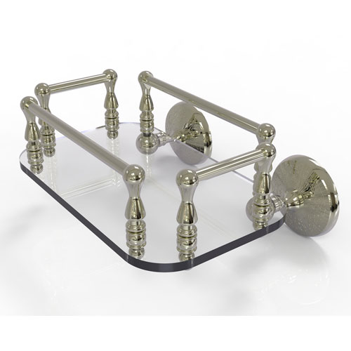 Monte Carlo Polished Nickel Eight-Inch Wall Mounted Glass Guest Towel Tray