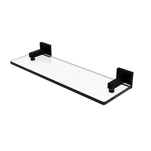 Montero Matte Black 16-Inch Glass Vanity Shelf with Beveled Edges