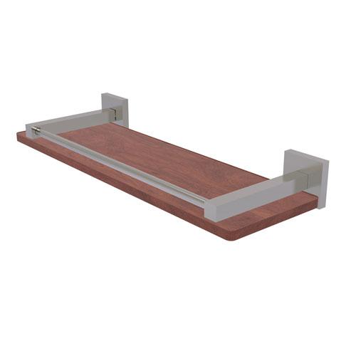 Montero Satin Nickel 16-Inch Solid IPE Ironwood Shelf with Gallery Rail