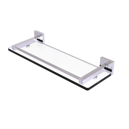 Montero Polished Chrome 16-Inch Glass Shelf with Gallery Rail