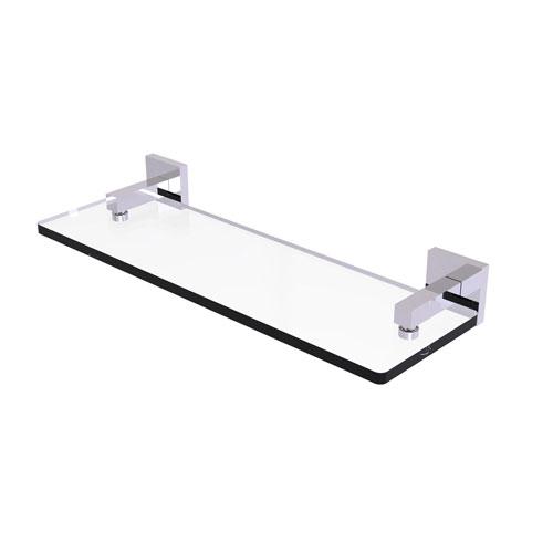 Montero Polished Chrome 16-Inch Glass Vanity Shelf with Beveled Edges
