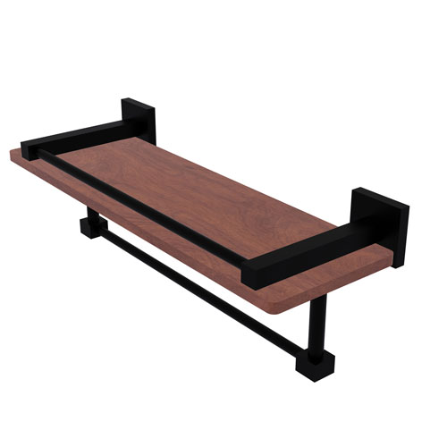 Montero Matte Black 16-Inch IPE Ironwood Shelf with Gallery Rail and Towel Bar