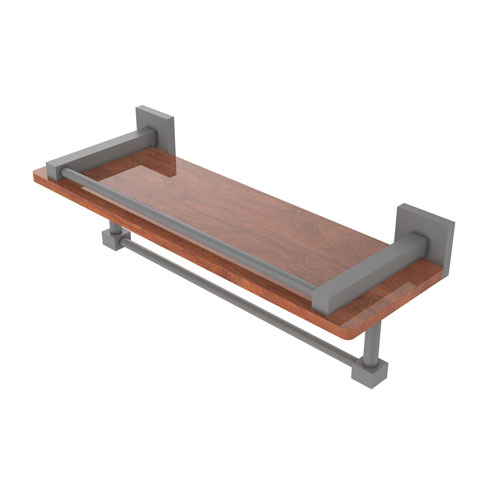 Montero Matte Gray 16-Inch IPE Ironwood Shelf with Gallery Rail and Towel Bar