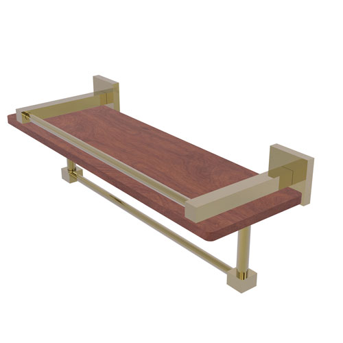 Montero Unlacquered Brass 16-Inch IPE Ironwood Shelf with Gallery Rail and Towel Bar