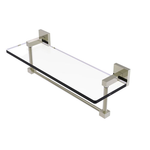 Montero Polished Nickel 16-Inch Glass Vanity Shelf with Integrated Towel Bar