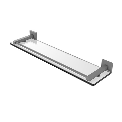 Montero Matte Gray 22-Inch Glass Shelf with Gallery Rail
