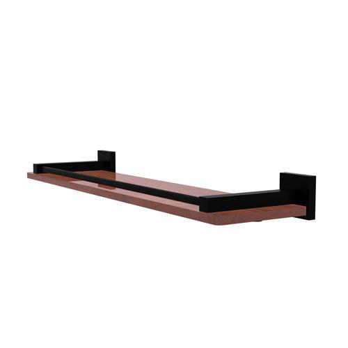Montero Matte Black 22-Inch Solid IPE Ironwood Shelf with Gallery Rail