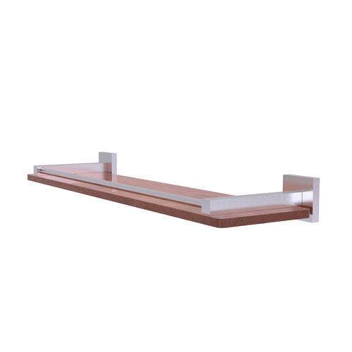 Montero Satin Chrome 22-Inch Solid IPE Ironwood Shelf with Gallery Rail