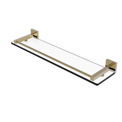 Montero Unlacquered Brass 22-Inch Glass Shelf with Gallery Rail