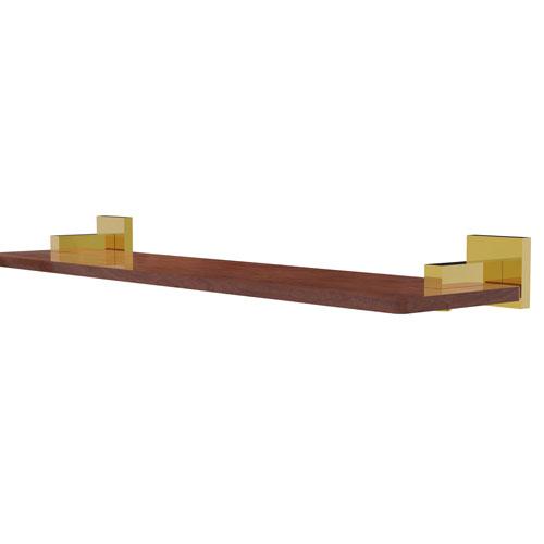 Montero Polished Brass 22-Inch Solid IPE Ironwood Shelf
