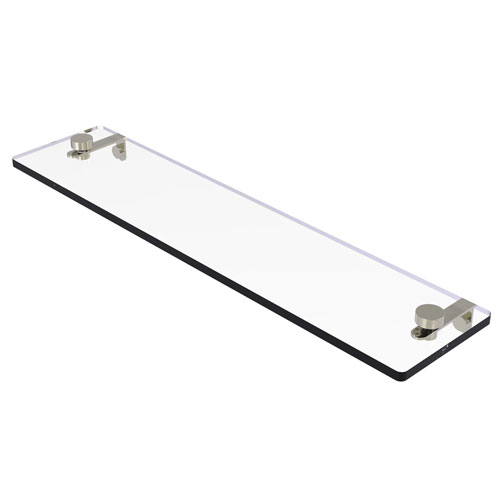 Montero Polished Nickel 22-Inch Glass Vanity Shelf with Beveled Edges