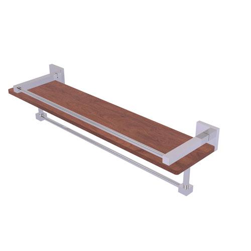 Montero Polished Chrome 22-Inch IPE Ironwood Shelf with Gallery Rail and Towel Bar