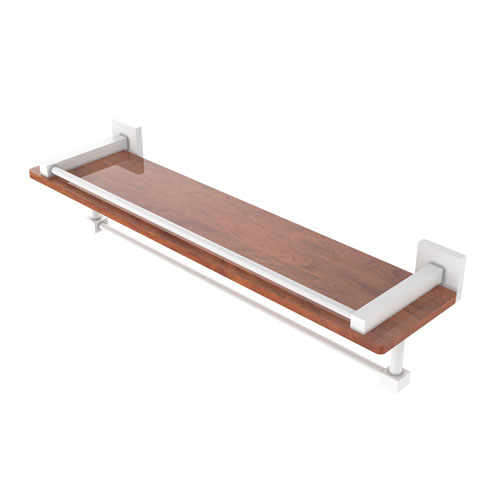 Montero Matte White 22-Inch IPE Ironwood Shelf with Gallery Rail and Towel Bar