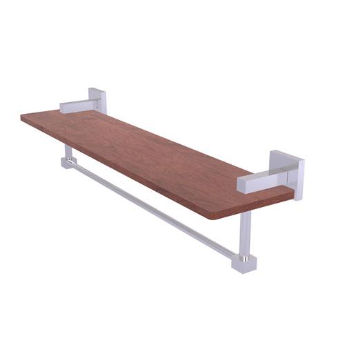 Montero Satin Chrome 22-Inch Solid IPE Ironwood Shelf with Integrated Towel Bar