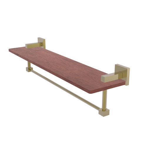 Montero Unlacquered Brass 22-Inch Solid IPE Ironwood Shelf with Integrated Towel Bar