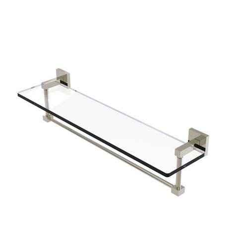 Montero Polished Nickel 22-Inch Glass Vanity Shelf with Integrated Towel Bar