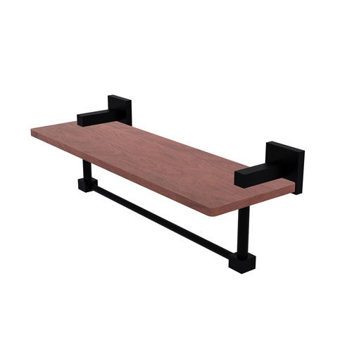 Montero Matte Black 16-Inch Solid IPE Ironwood Shelf with Integrated Towel Bar