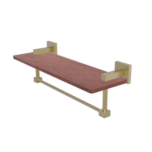 Montero Satin Brass 16-Inch Solid IPE Ironwood Shelf with Integrated Towel Bar