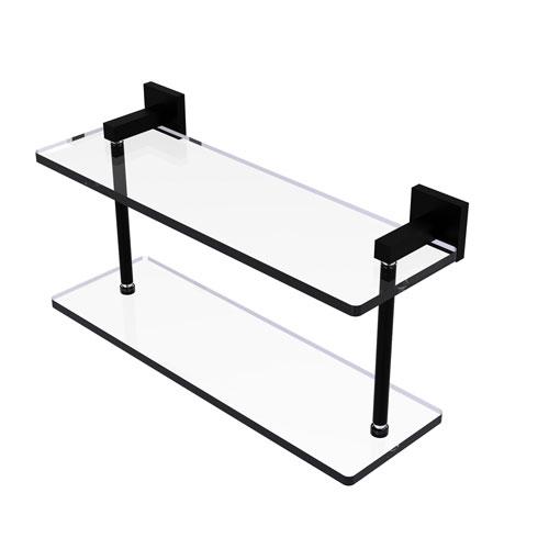 Montero Matte Black 16-Inch Two Tiered Glass Shelf