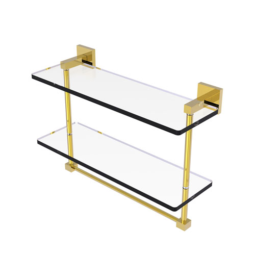 Montero Antique Brass 16-Inch Two Tiered Glass Shelf with Integrated Towel Bar