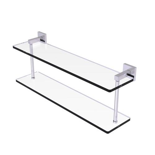 Montero Satin Chrome 22-Inch Two Tiered Glass Shelf