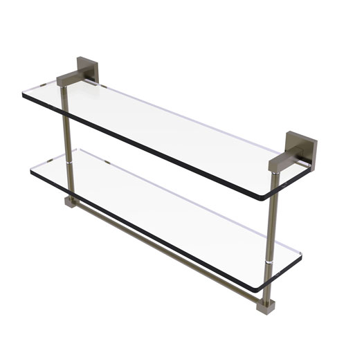 Montero Antique Brass 22-Inch Two Tiered Glass Shelf with Integrated Towel Bar