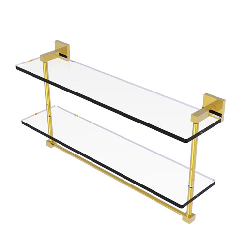 Montero Polished Brass 22-Inch Two Tiered Glass Shelf with Integrated Towel Bar