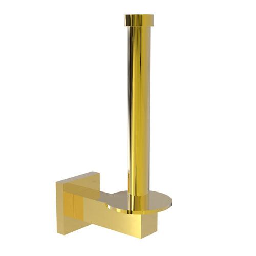 Montero Polished Brass Four-Inch Upright Toilet Tissue Holder and Reserve Roll Holder