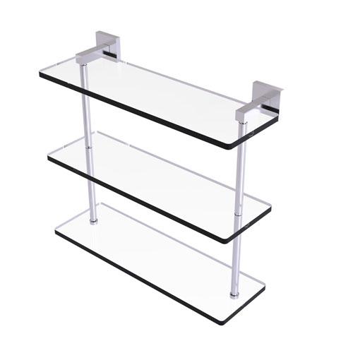 Montero Satin Chrome 16-Inch Triple Tiered Glass Shelf