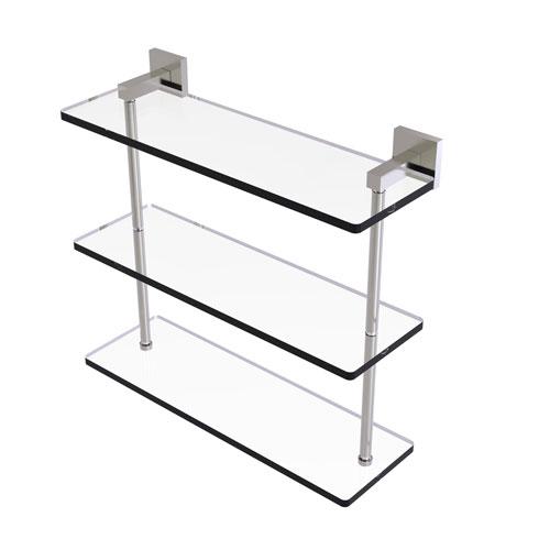 Montero Satin Nickel 16-Inch Triple Tiered Glass Shelf