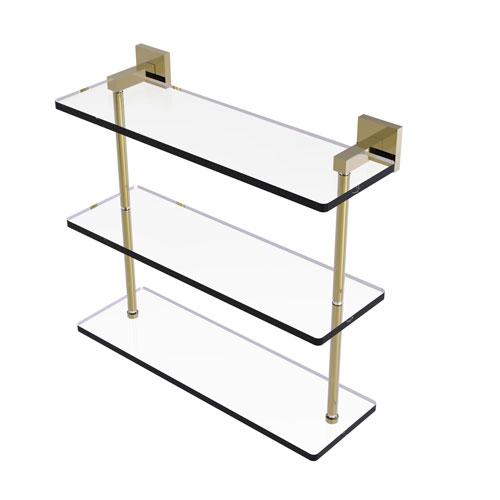 Montero Unlacquered Brass 16-Inch Triple Tiered Glass Shelf