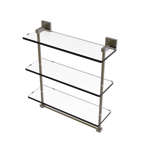 Montero Antique Brass 16-Inch Triple Tiered Glass Shelf with Integrated Towel Bar