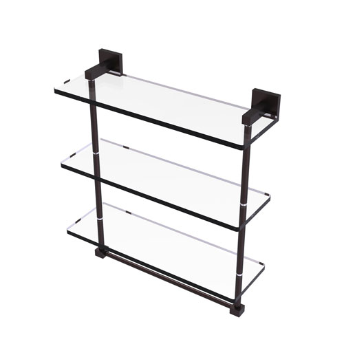 Montero Antique Bronze 16-Inch Triple Tiered Glass Shelf with Integrated Towel Bar