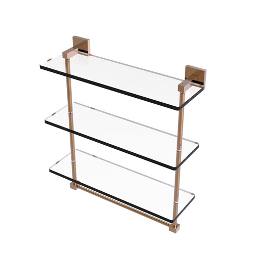 Montero Brushed Bronze 16-Inch Triple Tiered Glass Shelf with Integrated Towel Bar