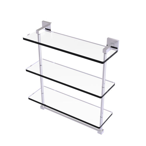 Montero Satin Chrome 16-Inch Triple Tiered Glass Shelf with Integrated Towel Bar