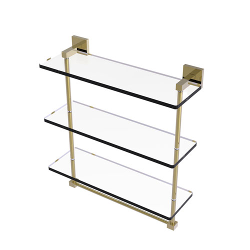 Montero Unlacquered Brass 16-Inch Triple Tiered Glass Shelf with Integrated Towel Bar