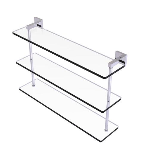 Montero Polished Chrome 22-Inch Triple Tiered Glass Shelf