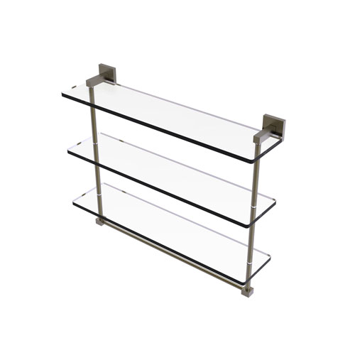 Montero Antique Brass 22-Inch Triple Tiered Glass Shelf with Integrated Towel Bar