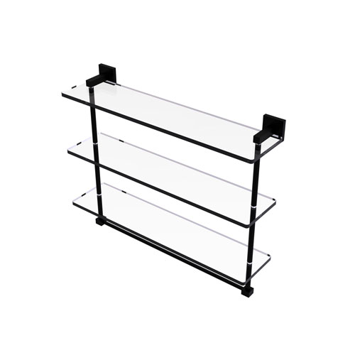 Montero Matte Black 22-Inch Triple Tiered Glass Shelf with Integrated Towel Bar