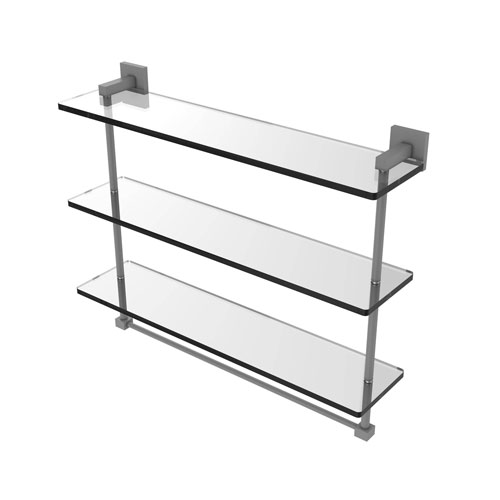 Montero Matte Gray 22-Inch Triple Tiered Glass Shelf with Integrated Towel Bar