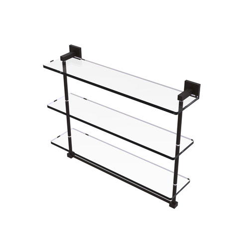 Montero Oil Rubbed Bronze 22-Inch Triple Tiered Glass Shelf with Integrated Towel Bar